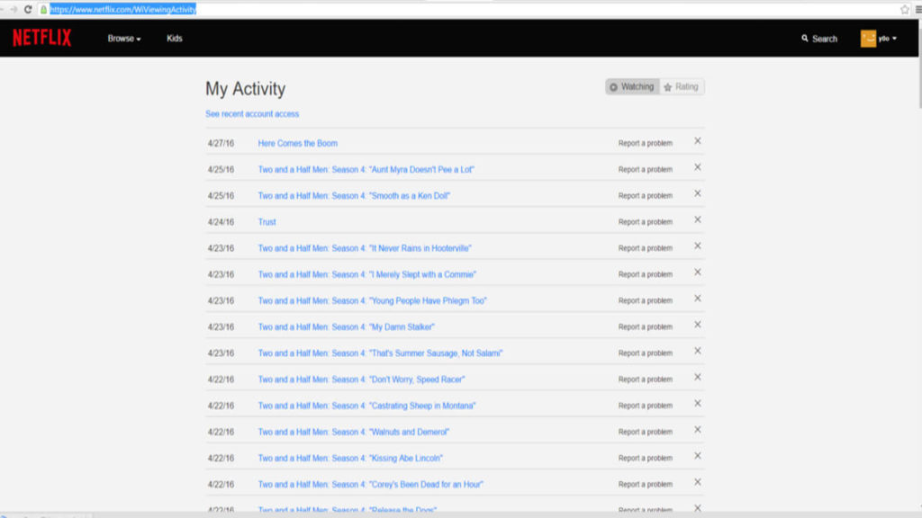 view and delete netflix activity